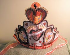 Handmade vintage-themed Valentine Crown: Queen of Hearts. Created with found objects, tinsel, crepe paper, ribbon My Funny Valentine, Valentine Hats, Homemade Valentines, Vintage Valentines, Heart Crown, Diy Crown, Paper Crowns, Tiaras And Crowns, Alice