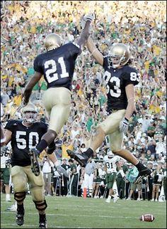 Maurice Stovall and Jeff Samardzija Texas College Football, Oklahoma Sooners Football, Oregon Ducks Football, Notre Dame Football, Football Jerseys, Noter Dame, Notre Dame Irish, Go Irish, Football Quotes
