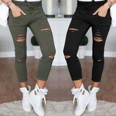 Nice Offer $7.84, Buy WEIXINBUY Women Skinny Cut Pencil Denim Pants High Waist Stretch Jeans Trousers Cotton Drawstring Slim Leggings