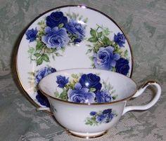 Sheltonian English Bone China Tea Cup & Saucer Set - Summertime Rose Blue