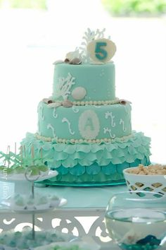 Pequena Sereia, Little Mermaid, Cake turquoise, bolo turquesa
