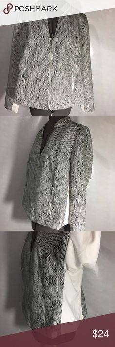 black and white zippered jacket Lovely black and white zippered jacket with zippered front pockets, white sides and under sleeves some of the threading has been pulled loose (see photo) this can be easily pulled back into place. Lane Bryant Jackets & Coats Blazers