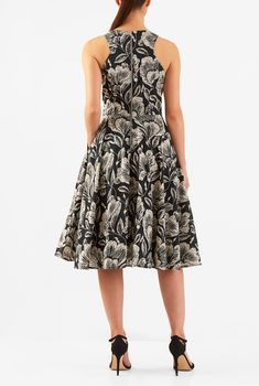 , back zip dresses, below knee length dresses, black dresses, cotton dresses, cut-away shoulders dresses, digital print dresses, fit-and-flare dresses, flared skirt dresses, floral print dresses, jewel neck dresses, machine wash dresses, mid-weight dresses, pocket dresses, print dresses, Racerback Dresses, sleeveless dresses, woven dresses