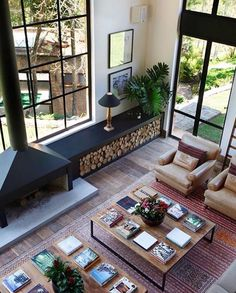 Idea for Firewood Storage Design Home Living Room, Living Spaces, Small Living, Apartment Living, Modern Living, Living Area, Interior Architecture, Interior And Exterior, Interior Windows