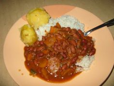 Boiled beans, rice and potatoes