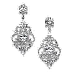 Elegant Silver Platinum Victorian Scrolls CZ Wedding Earrings -Affordable Elegance Bridal -