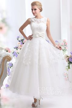 Pretty+A-Line+Jewel+Natural+Ankle+Length+Organza+Ivory+Sleeveless+Zipper+Wedding+Dress+with+Sashes+and+Appliques+CWZA14001 #weddingdress #cocomelody
