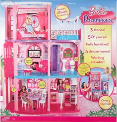 Barbie Dreamhouse- this 3 Story Dreamhouse has all the style and fun that Barbie & your little girl have come to expect. A central elevator takes Barbie between the floors with rooms that include a living room, bedroom, kitchen, bathroom, and balcony with a hot tub,working lights on the chandelier, tiki lights and fireplace, as well as sounds for flushing toilets, running shower, doorbell, and crackling fire. Price 112.65 MORE INFO http://www.everythingkids.co/dollhouse-products/