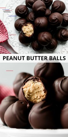 These chocolate covered peanut butter balls taste like an upgraded Reeses peanut butter cup! Made from only 6 simple ingredients, these no bake truffles are very easy to make and completely irresistible! Recipe on sallysbakingaddic… No Bake Truffles, Peanut Butter Truffles, Reeses Peanut Butter, Best Dessert Recipes, Candy Recipes, Fun Desserts, Delicious Desserts, Fudge Recipes, Drink Recipes