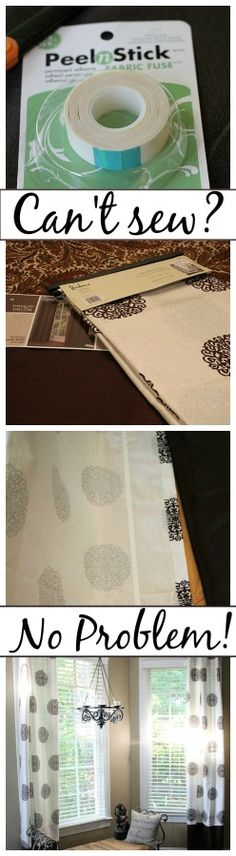 No-sew curtains adding trim Use this on making curtains wider, and also to make no sew curtains!