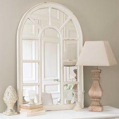 OFELIA wood window mirror, white H 122cm