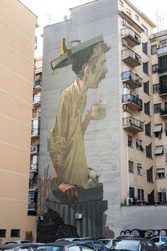 StreetArtRoma: Coffee Break   Etam Cru   2014   Zona: Pigneto   #art #streetart #roma