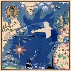 Art deco map commemorating Charles Lindbergh's transatlantic flight, by Lucien Boucher, 1927. #maps