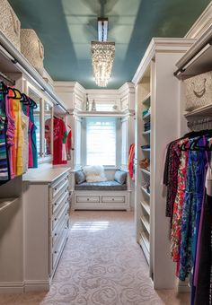 The ceiling color definitely takes this up a notch | karendavisdesign. I so want a closet like this