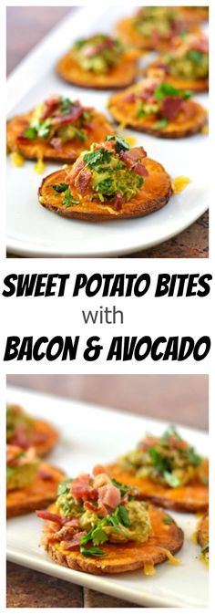 Sweet Potato Bites with Bacon and Avocado. Great appetizer for game day, footbal… Sweet Potato Bites with Bacon and Avocado. Sweet Potatoe Bites, Potato Bites, Sweet Potatoe Appetizer, Sweet Potato Pizza, Loaded Sweet Potato, Sweet Potato Toast, Appetizers For Party, Appetizer Recipes, Vegan Appetizers