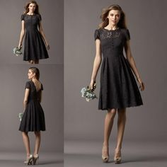 2014 Lace Bridesmaid Dresses Elegant Cap Short Sleeve Knee Length Short Cheap Brides Maid Dresses Women BD182, $81.99   DHgate.com
