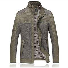 chaqueta informal color de los cordones de los hombres – USD $ 52.79 FRN