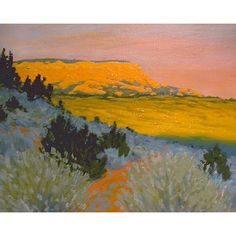 Utah 'Powell Point' Original Landscape Painting oil Southwestern impressionist pink sunset Southwest art plein air (1 915 SEK) found on Polyvore