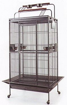 NEW Large Double Ladders Open Play Top Bird Wrought Iron Cage With Stand and WheelsBlack Hammertone by Mcage >>> Visit the image link more details. Note:It is affiliate link to Amazon.