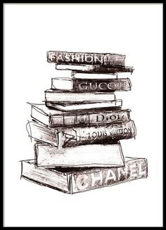 Poster with fashion books. Stylish Poster with fashion design. From the big fashion brands Gucci, Prada, Dior, etc. Buy posters with fashion online with Desenio. Prada Poster, Chanel Poster, Chanel Print, Mode Collage, Wall Collage, Poster Collage, Fashion Books, Fashion Art, Fashion Posters