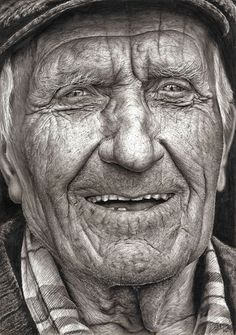 """This incredible photorealistic pencil drawing of an elderly Irish man was created by Shania McDonagh, a remarkably talented 16-year-old student in Ireland. The drawing, entitled """"Coleman,"""" is based on a photograph of an Irish fisherman by photographer James Fennell. McDonagh recently took first prize with the drawing in the Texaco Children's Art Competition. This year marks McDonagh's fifth consecutive first prize in the competition."""