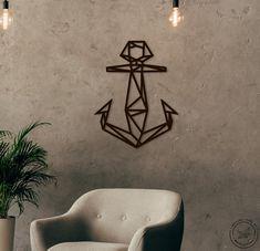 Metal Wall Art geometric Anchor steel Home Decor Scandi style | Etsy