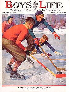 Boy's Life Magazine Covers Boys Life Magazine, Life Cover, Norman Rockwell, Character Modeling, Chicago Blackhawks, Winter Sports, Ice Hockey, Boy Scouts, Figure Skating