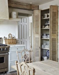 Cote De Texas - Carol Glasser's pantry for dishes - kitchen without upper cabinets Home Design, Design Ideas, Rustic Kitchen, Kitchen Decor, Country Kitchen, Teal Kitchen, Cozy Kitchen, French Kitchen, Kitchen Layout