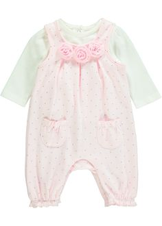 4160c8e52a8 Girls Polka Dot Jersey Dungaree Set (Tiny Baby-18mths) - Matalan. Laura  Jayne Fairfield · Clothes for Chloe