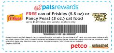 Free Can of Friskies or Fancy Feast Cat Food. Click here for details and to print the coupon.