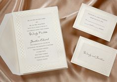 Wedding invitation features pearlized paper that is stunning! A delicate border is etched into the paper with great detail. Traditional Wedding Invitations by Wedding Invitations-WeddingBeDazzle