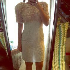 Retro beaded mini dress Custom made all hand beaded mini dress. ✔️open to trade. Light pink and white. Absolutely Gorgeous! Dresses Mini