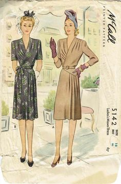McCall 5142 Ladies and Misses Dress 1943 1940s