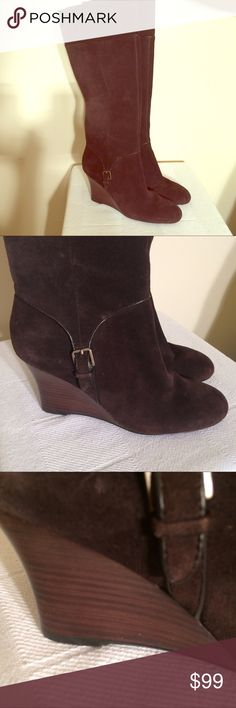 NWOT Ann Taylor Loft brushed leather wedge boots NWOT Size 9 and 1/2. Beautiful! Beautiful boots! These pictures do NOT do them justice! They won't disappoint! May bundle with 2 or more additional items from this closet for 15% off! No holds or trades pls! Ann Taylor Loft Shoes Over the Knee Boots
