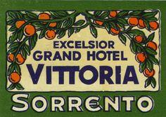 Artist Unknown poster: Excelsior Grand Hotel Vittoria Sorrento (luggage label)
