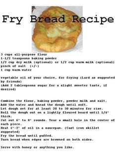 Fry bread-  Trying this today! Fried Bread Recipe, Indian Fry Bread Recipe Easy, Native Fry Bread Recipe, Nana Bread Recipes, Fry Bread Indian, Cooking Recipes, Kitchen Recipes, Cooking Ideas, Navajo Tacos