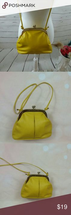 VINTAGE MUSTARD YELLOW LEATHER Purse This is Amy vintage mustard yellow leather shoulder bag. It has the metal kisslock closure. That measures 9 by 5 inches by 6 by 5 inches by 3 x 5 in. Shoulder strap drop is 19 inches. This bag is made by Letisse. Bags Mini Bags