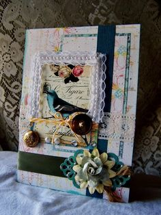 Handmade SHaBBy card Lacey beaded card printed by BennBooCreations