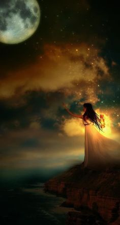"""""""Be the rising Moon in my dark nights I am thirsty for your light."""" ~Rumi nite my son, love you to the moon and Foto Fantasy, Fantasy World, Moon Dance, Moon Magic, Beautiful Moon, Simply Beautiful, Moon Goddess, Moon Art, Stars And Moon"""