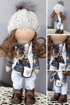 Brunette tilda doll Art doll Holiday doll handmade blue brown colors Soft doll…