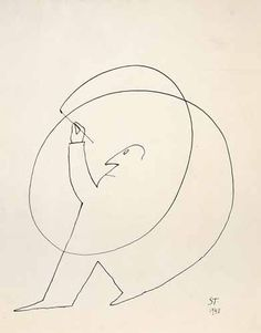 Saul Steinberg – was a Jewish Romanian-born American cartoonist and illustrator - Untitled, 1948 Saul Steinberg, Line Drawing, Drawing Sketches, Art Drawings, Paper Drawing, Contour Drawing, Alphonse Mucha, Wire Art, Art Design