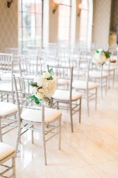 Chiavari Chair - This faux bamboo style is the most popular option for weddings. They're often seen in natural wood, neutral tones, or metallics, but some rental companies offer bright colors, pastels, or even transparent varieties. {Jess Barfield Photography} Follow @weddingwire for more inspiration!