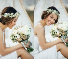 Boho-Style Frisuren sind für Hochzeiten sehr beliebt. Eine süße Brautfrisur für Bräute mir kürzeren Haaren! Das besondere: der Blumenkranz passt mit dem Brautstrauß zusammen. #brautfrisur #hochzeit #bohostyle