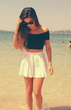Summer fashion white skirt black top
