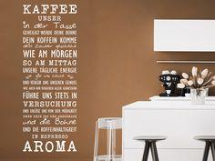 Kaffee Wandtattoo Kaffee Unser In Weißer Schrift Auf Brauner Wand