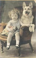 Vintage Photo Young Girl Child with Doll and Dog Colorized H0822