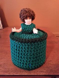 Vintage Hand Crocheted Toilet Paper Roll Holder Cover Doll Green Dress & Pearls