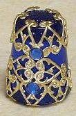 Gold Filigree Thimble 2 Blue Crystals New   eBay