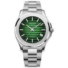 Full Watchcase: Stainless steel Watchglass: Synthetic sapphire Watch dial: Green coloured gradient Jewel: 27 Movement: Frequency 28800 v.h 80 hours Power Reserve Transparent caseback Diameter 40 mm Thickness 10 mm Water-resistance 5 Bar Leather Fashion, Mens Fashion, Swiss Watch Brands, Automatic Watches For Men, Mechanical Watch, Stainless Steel Watch, Michael Kors Watch, Watch Bands, 5 Bar