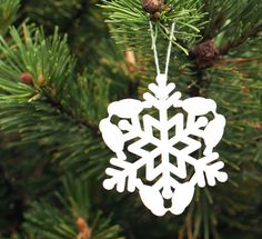 snow bird snowflake ornament laser cut geometric christmas ornament cut from white acrylic, animal series collectable ornaments by peppersprouts Paper Snowflake Designs, Snowflake Craft, Paper Snowflakes, Natural Christmas Ornaments, Paper Christmas Ornaments, Christmas Deco, Christmas Makes, Christmas Inspiration, Holiday Crafts